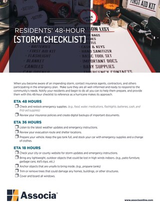 Residents' 48-Hour Storm Checklist