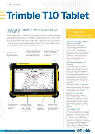 Trimble T10 Tablet Datasheet - French