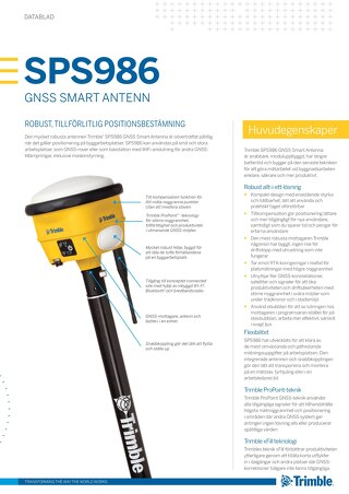 Trimble SPS986 GNSS Smart Antenna Datasheet - Swedish