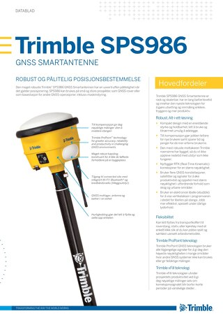 Trimble SPS986 GNSS Smart Antenna Datasheet - Norwegian