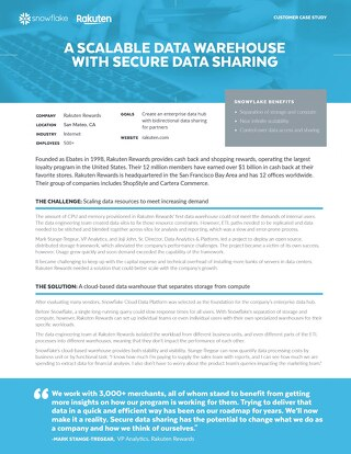 Rakuten Rewards: A Scalable Data Warehouse with Secure Data Sharing