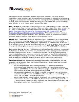 PeopleReady Coronavirus Protection Practices