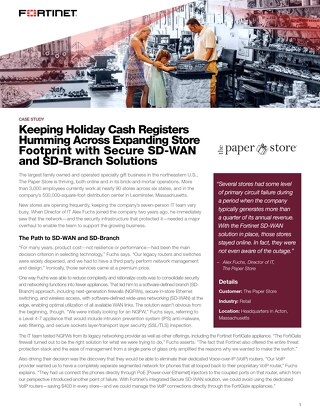 Keeping Holiday Cash Registers Humming Across Expanding Store Footprint with Secure SD-WAN and SD-Branch Solutions