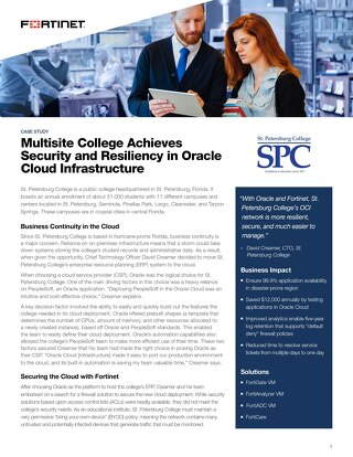 Multisite College Achieves Security and Resiliency in Oracle Cloud Infrastructure