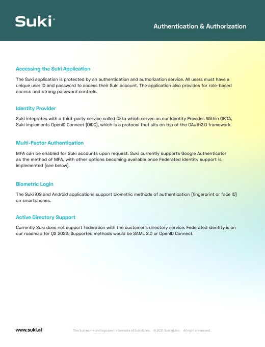 Suki Authentication