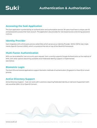 Suki Authentication and Authorization Aug2021