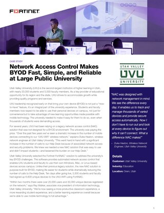 Network Access Control Makes BYOD Fast, Simple, and Reliable at Large Public University