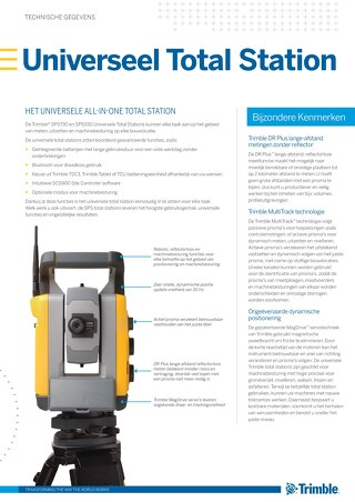 Trimble SPS730 and SPS930 Universal Total Station Datasheet - Dutch