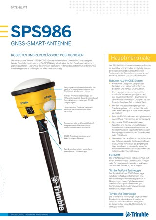 Trimble SPS986 GNSS Smart Antenna Datasheet - German