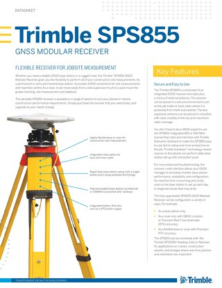 Trimble SPS855 Datasheet - English