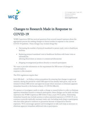 Changes to Research Made in Response to COVID-19