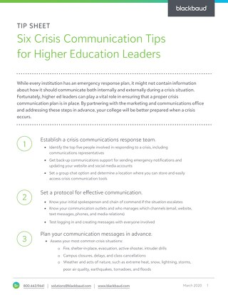 Tip Sheet: 6 Crisis Communications Tips for Higher Ed Leaders