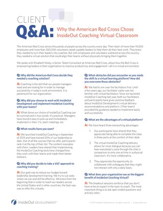 Q&A American Red Cross VILT Coaching