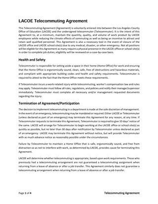LACOE Telecommuting Agreement