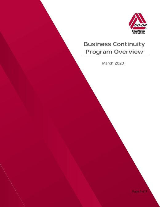 CO-OP Business Continuity Program Overview 2020