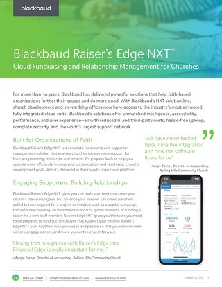 DATASHEET: Raiser's Edge NXT for Churches