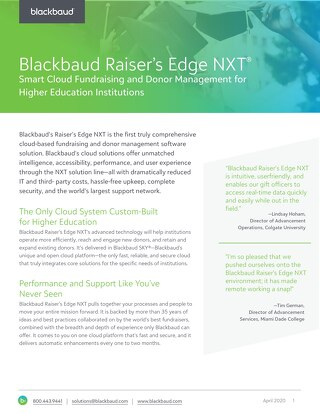 Data Sheet: Raiser's Edge NXT for Higher Ed
