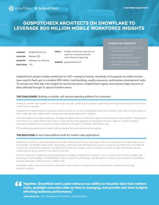 GoSpotCheck: GoSpotCheck Architects on Snowflake to Leverage 800 Million Mobile Workforce Insights