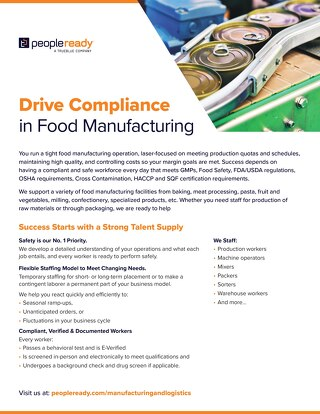 Food Manufacturing Sell Sheet