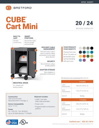 Bretford CUBE Mini Spec Sheet
