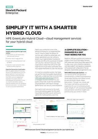 HPE Greenlake Simplify With a Smarter Hybrid Cloud