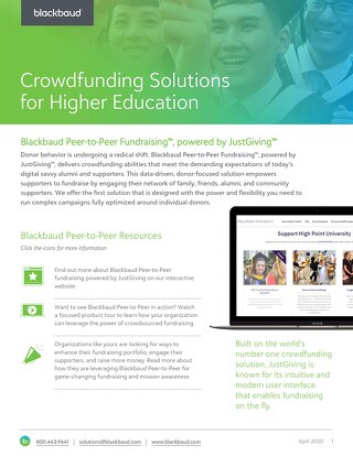 2020 Blackbaud Peer-to-Peer Fundraising for Higher Education Datasheet