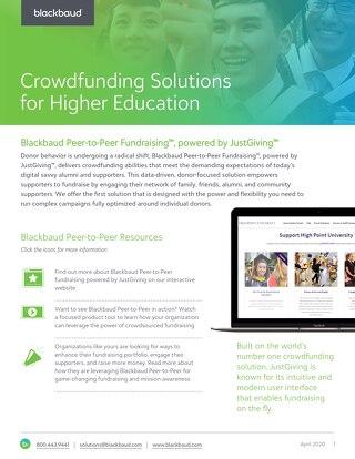 2020 Blackbaud Peer-to-Peer Fundraising for Higher Education Datasheet