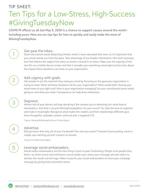 Ten Tips for #GivingTuesday Now on May 5, 2020