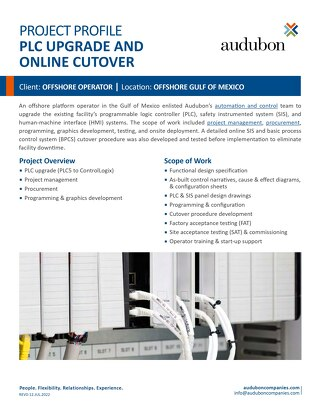 PLC Upgrade and On-line Cutover - Project Profile