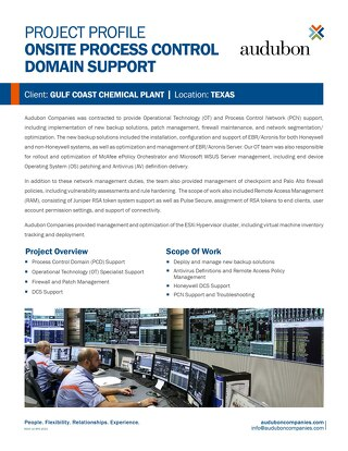 Onsite Process Control Domain Support