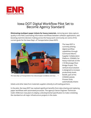 "Featured in ENR - ""Iowa DOT Digital Workflow Pilot Set to Become Agency Standard"""