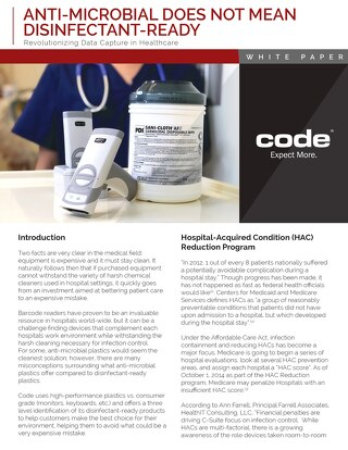Code Anti-Microbial Does Not Mean Disinfectant-Ready