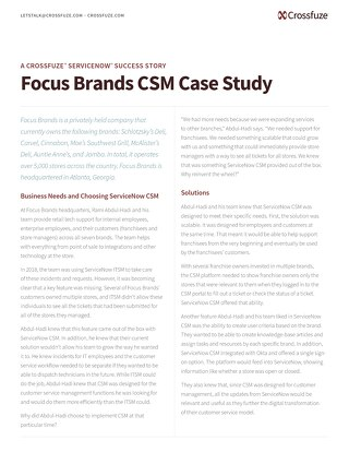ServiceNow CSM Success: Focus Brands