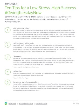Ten tips for #GivingTuesdayNow