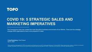 TOPO's COVID 19: 5 Strategic Sales and Marketing Imperatives Report