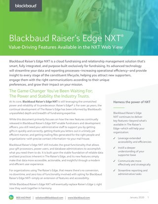 Raiser's Edge NXT Web View Features Datasheet