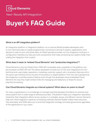 Cloud Elements Buyer's FAQ 2020