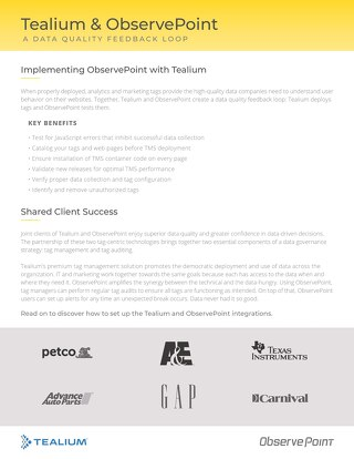 Tealium and ObservePoint Integrations Guide