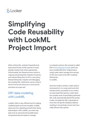 Code Reusability with LookML Project Import