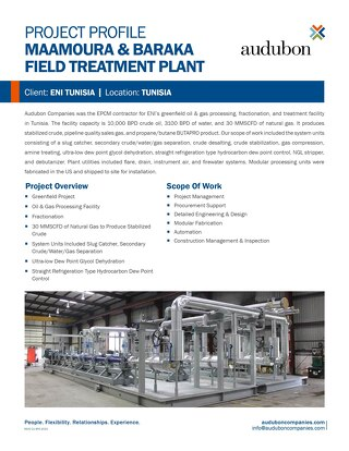 Maamoura & Baraka Field Treatment Plant