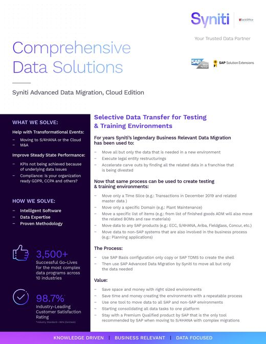 Comprehensive Data Solutions: Syniti Advanced Data Migration, Cloud Edition