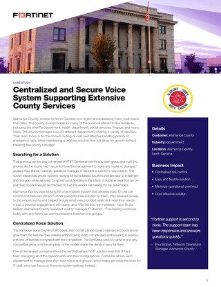 Centralized and Secure Voice System Supporting Extensive County Services