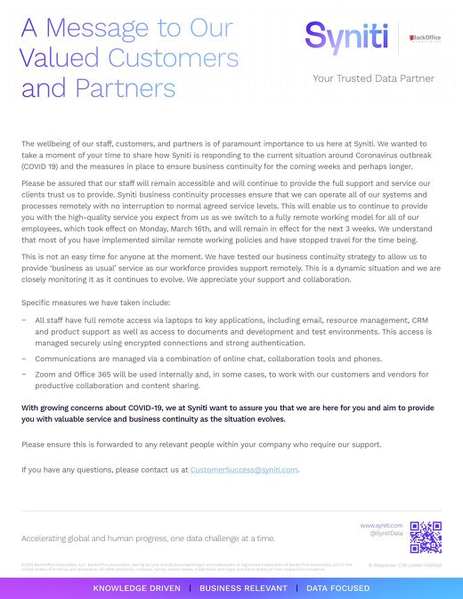 COVID-19: A Message to Our Valued Customers & Partners