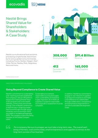 Nestlé Brings Shared Value for Shareholders & Stakeholders: A Case Study
