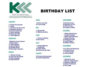 KVV Birthday List