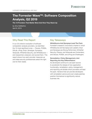 The Forrester Wave: Software Composition Analysis 2019