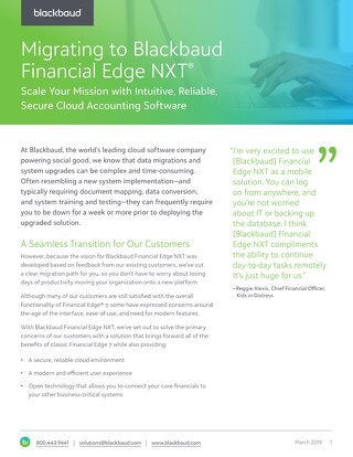 Migrating to Blackbaud Financial Edge NXT