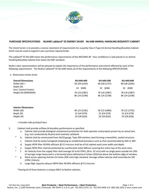 PSP-0012 Nu-640 NUAIRE LabGard® ES ENERGY SAVER NU-640 ANIMAL HANDLING BIOSAFETY CABINET R1_May20