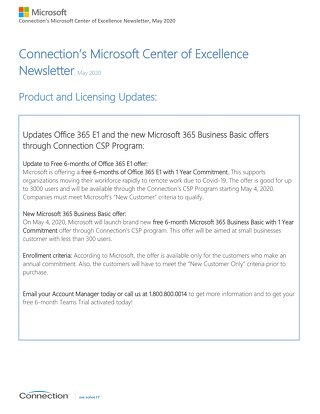 Connection's Microsoft Center of Excellence Newsletter-May 2020