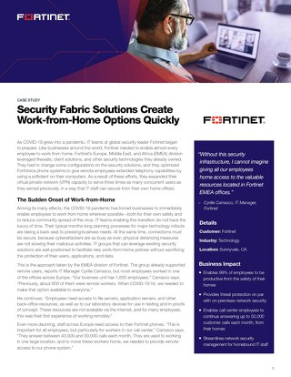 Security Fabric Solutions Create Work-from-Home Options Quickly